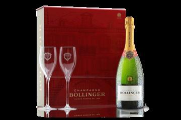 Folkekære Champagne Bollinger Special Cuvee with Champagne Flutes in Branded MK-54