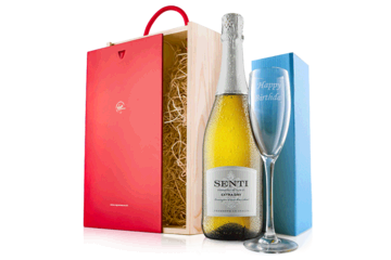 Happy Birthday Prosecco With Flute In Wooden Gift Box