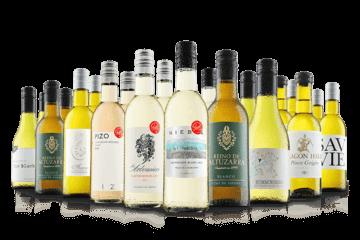 20 Mini Wine Bottles White and Rose Gift Case