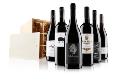 Luxury 6 Bottle Red Selection In Wooden Gift Box