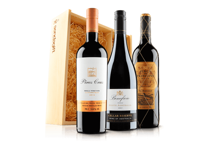Blockbusting Red Wine Trio In Wooden Gift Box